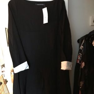 French Connection Black Dress with White Cuffs
